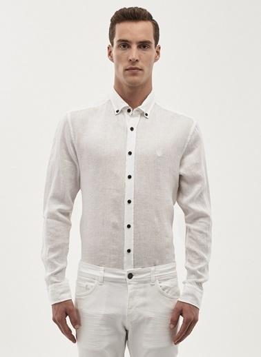 Beymen Business Uzun Kollu Keten Gömlek Beyaz
